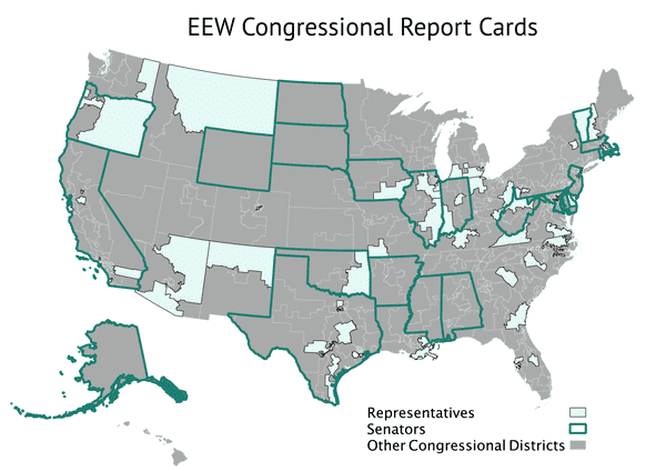 Map of representatives on EPA oversight committees, covered by EEW Congressional Report Cards project